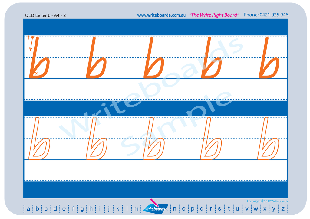 QLD Modern Cursive Font alphabet tracing worksheets for the lower case letters.