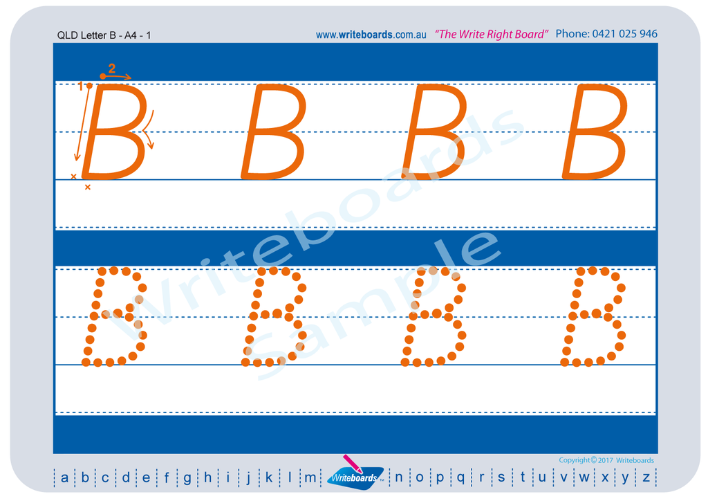 QLD Modern Cursive Font alphabet tracing worksheets for the upper case letters.