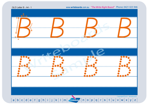QLD Modern Cursive Font Uppercase Alphabet Tracing Worksheets for Occupational Therapists and Tutors