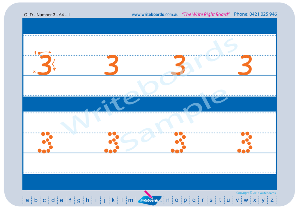 QLD Modern Cursive Font numeracy tracing worksheets for the number from 0 to 9.