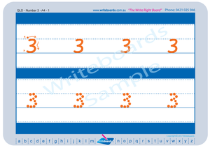 QLD Modern Cursive Font Number Tracing Worksheets for Occupational Therapists and Tutors