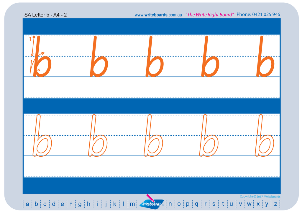 Free Download of SA Modern Cursive Font worksheets. Free SA handwriting worksheets.