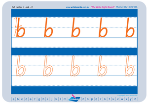 SA Modern Cursive Font lowercase alphabet tracing worksheets for teachers, early stage one resource for teachers