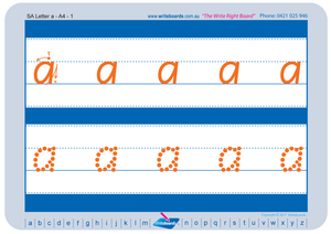 SA Modern Cursive Font Lowercase Alphabet Tracing Worksheets for Occupational Therapists and Tutors
