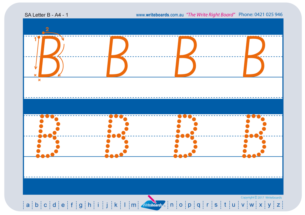 SA Modern Cursive Font Alphabet and number Worksheets for Kindergarten, created by Writeboards
