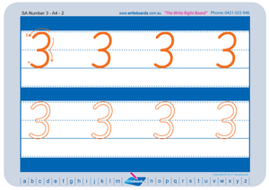 SA Modern Cursive Font number tracing worksheets for teachers, early stage one resource for teachers
