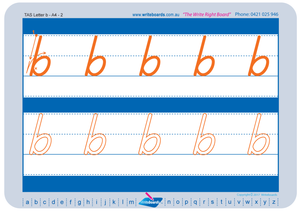 TAS Modern Cursive Font alphabet and number handwriting worksheets, TAS tracing worksheets