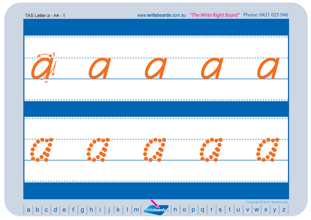 TAS Beginner Font alphabet tracing worksheets for the lower case letters.