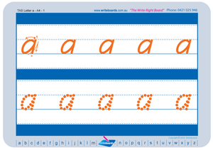 TAS Modern Cursive Font lowercase alphabet tracing worksheets for teachers, early stage one resource for teachers