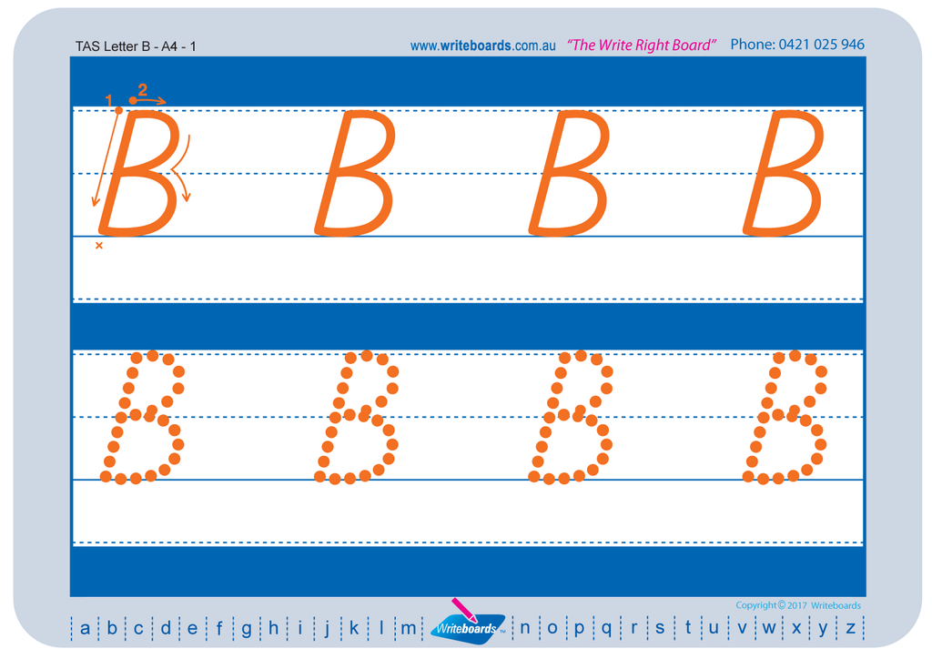 TAS Beginner Font alphabet tracing worksheets for the upper case letters.