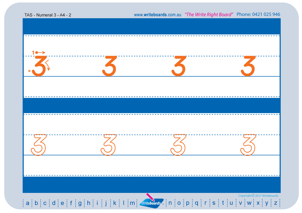 TAS Beginner Font number tracing worksheets for TAS teachers.