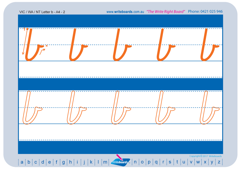 Free Download of VIC Modern Cursive Font worksheets. Free VIC, NT and WA handwriting worksheets.