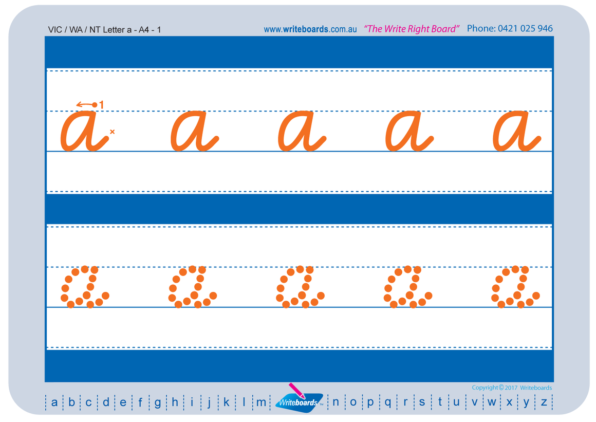 VIC Modern Cursive Font Alphabet and number Worksheets for Kindergarten, created by Writeboards