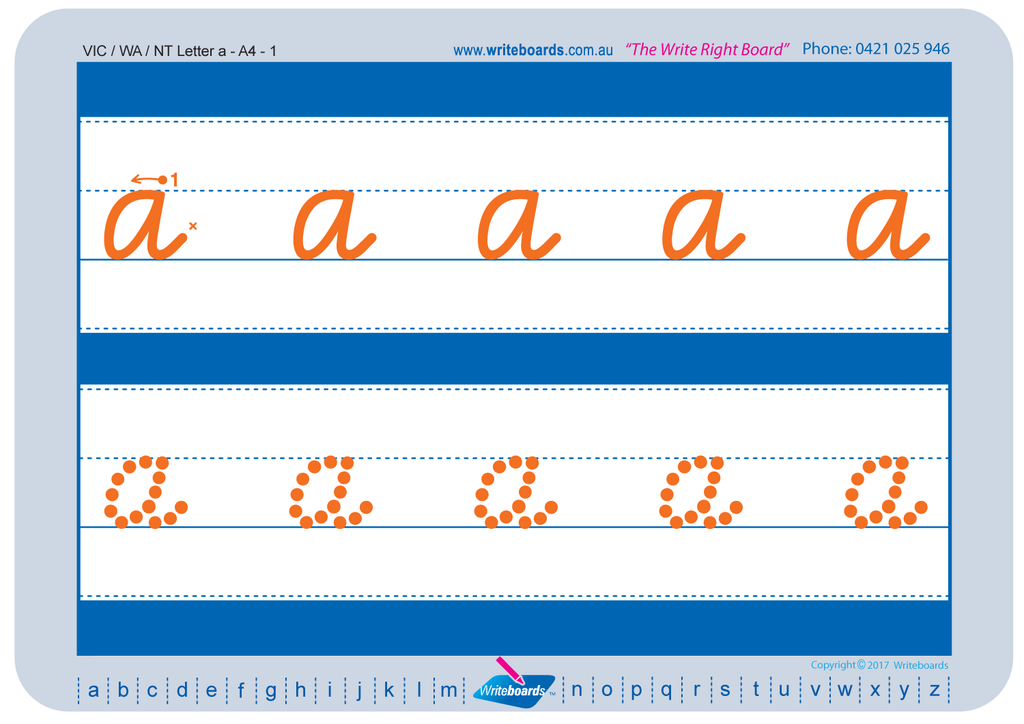 VIC Modern Cursive Font alphabet tracing worksheets for the lower case letters.