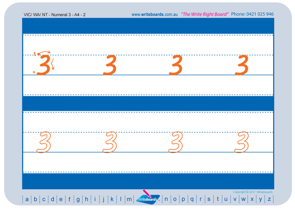 VIC Modern Cursive Font numeracy tracing worksheets for the number from 0 to 9.