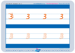 VIC Modern Cursive Font Number Tracing Worksheets for Occupational Therapists and Tutors