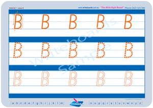 NSW Foundation Font uppercase alphabet handwriting worksheets, NSW and ACT alphabet tracing worksheets