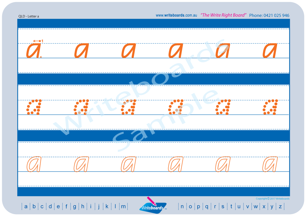 QLD Modern Cursive Font alphabet and number handwriting worksheets. QCursive Tracing worksheets. QLD handwriting.