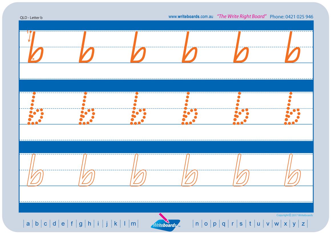 QLD Modern Cursive Font alphabet and number tracing worksheets. QCursive alphabet handwriting worksheets.