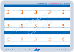 QLD Modern Cursive Font Early Stage One Number Tracing Worksheets for Teachers