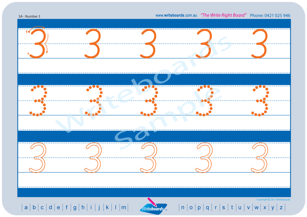 SA Modern Cursive Font alphabet and number tracing worksheets. SA alphabet handwriting worksheets.