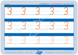 SA Modern Cursive Font Number Worksheets for Tutors and Occupational Therapists