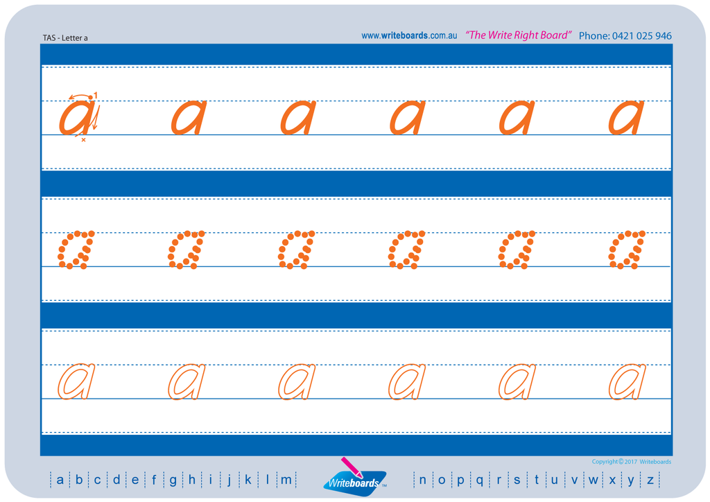 TAS Beginner Font alphabet and number handwriting worksheets. TAS Tracing worksheets.