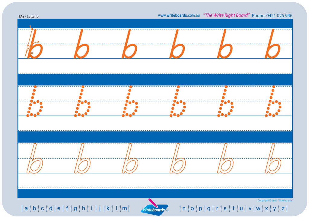 TAS Beginner Font alphabet and number tracing worksheets. TAS alphabet handwriting worksheets.