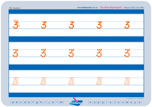 TAS Modern Cursive Font Early Stage One Number Tracing Worksheets for Teachers, TAS Teachers Resources