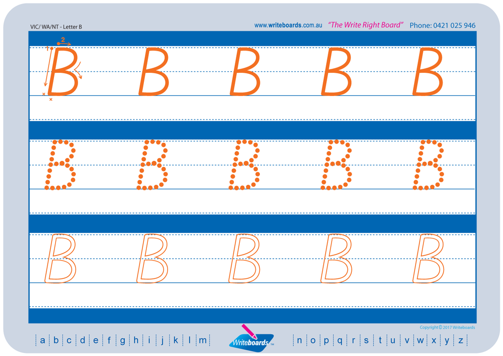 VIC Modern Cursive Font alphabet and number tracing worksheets. VIC, NT and WA alphabet handwriting worksheets.
