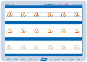 VIC Modern Cursive Font Lowercase Alphabet Worksheets for Tutors and Occupational Therapists