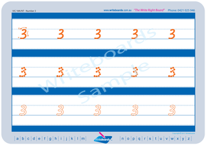 VIC Modern Cursive Font Number Worksheets for Tutors and Occupational Therapists
