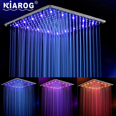 16-Inch Rainfall Shower Head With 3-color Water Powered Led Temperature Display