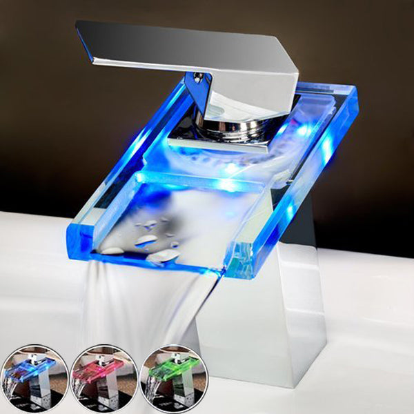 Glass Waterfall Led Bathroom Faucet