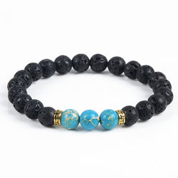 Natural Stone Lava Rock Bracelet Diffuser With Turquoise