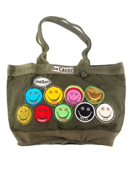 Large Hello beCause Military Tote