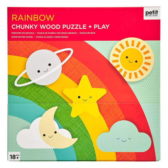 Petit Collage Chunky Wood Puzzle + Play - Rainbow