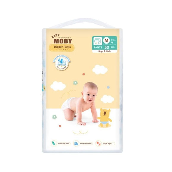 Baby Moby Chlorine Free Diaper Pants (Medium Size 6-11kgs) - 50 pcs