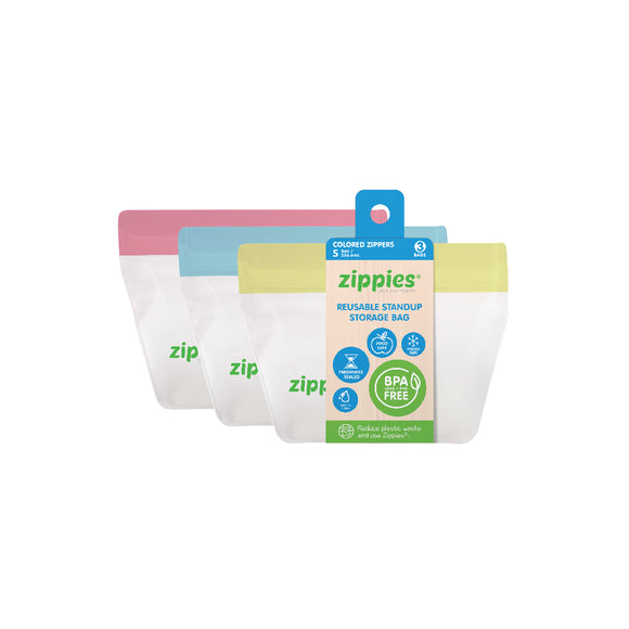 Zippies Stand Up Reusable Bags - Pastel Series