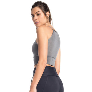 VESTEM GRAY HOOP SPORTS BRA, Women - Apparel - Activewear - Sports Bras - Haute Companie