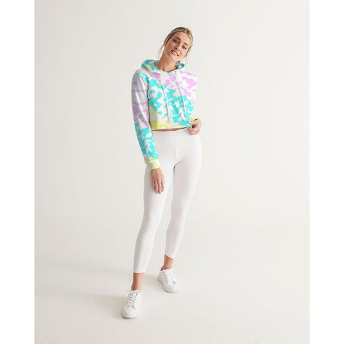 FIND YOUR COAST SUMMER COLLAGE CROPPED LONG SLEEVE HOODIE