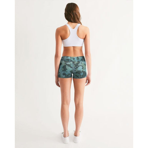 FIND YOUR COAST ACTIVE COMFORT O.U.R. OUTDOOR CAMO MID-RISE YOGA SHORTS, Women - Apparel - Activewear - Leggings - Haute Companie
