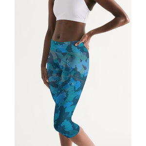 FIND YOUR COAST ALL DAY COMFORT  MID-RISE OCEAN CAMO CAPRI LEGGINGS, Women - Apparel - Activewear - Leggings - Haute Companie