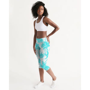 FIND YOUR COAST ALL DAY COMFORT MID-RISE  PALM CLUB CAPRI LEGGINGS, Women - Apparel - Activewear - Leggings - Haute Companie