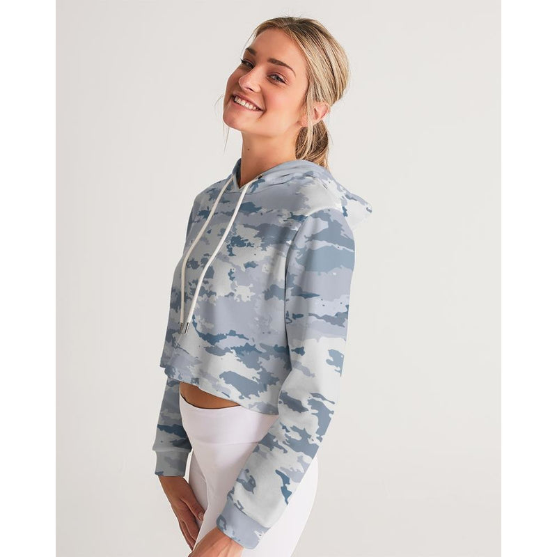FIND YOUR COAST WHITE CAMO CROPPED LONG SLEEVE HOODIE