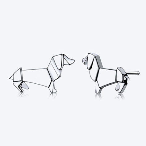 Sterling Silver Origami Dachshund Earrings Discount Dog Lovers