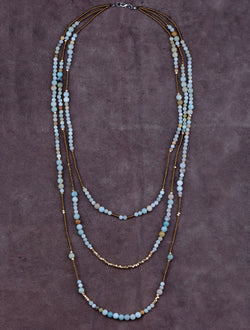 Amazonite Natural Stone Beads 3 Layers Necklace