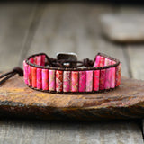 Unique Tube Shape Natural Stone Leather Bracelet