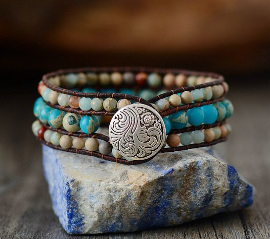 Handmade Stone and Leather Cuff Bracelet
