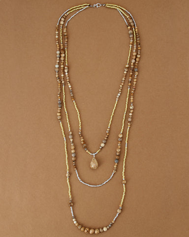 Handmade Natural Stones Seed Beads 3 Layers Necklace